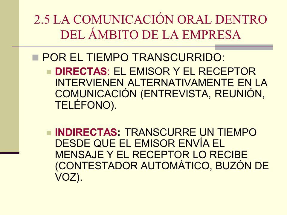 2.5 LA COMUNICACIÓN ORAL DENTRO DEL ÁMBITO DE LA EMPRESA POR EL TIEMPO TRANSCURRIDO: DIRECTAS: EL EMISOR Y EL RECEPTOR INTERVIENEN ALTERNATIVAMENTE EN
