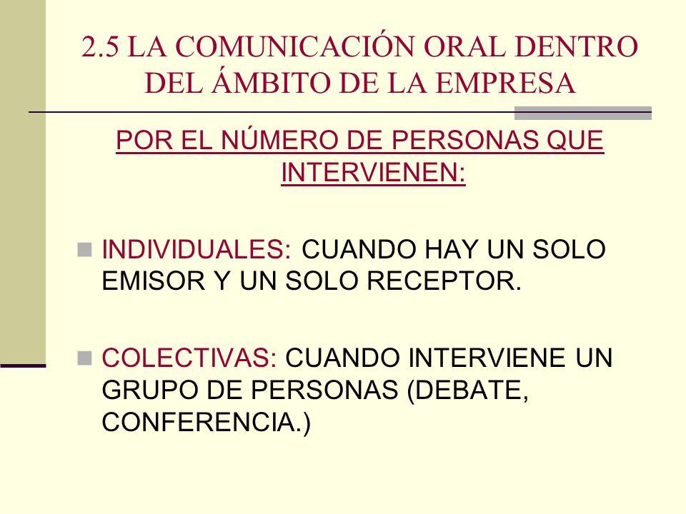 2.5 LA COMUNICACIÓN ORAL DENTRO DEL ÁMBITO DE LA EMPRESA POR EL NÚMERO DE PERSONAS QUE INTERVIENEN: INDIVIDUALES: CUANDO HAY UN SOLO EMISOR Y UN SOLO