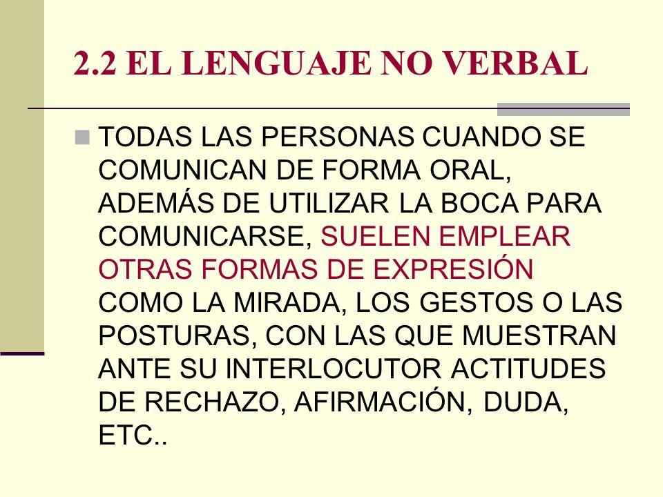 2.2 EL LENGUAJE NO VERBAL TODAS LAS PERSONAS CUANDO SE COMUNICAN DE FORMA ORAL, ADEMÁS DE UTILIZAR LA BOCA PARA COMUNICARSE, SUELEN EMPLEAR OTRAS FORM