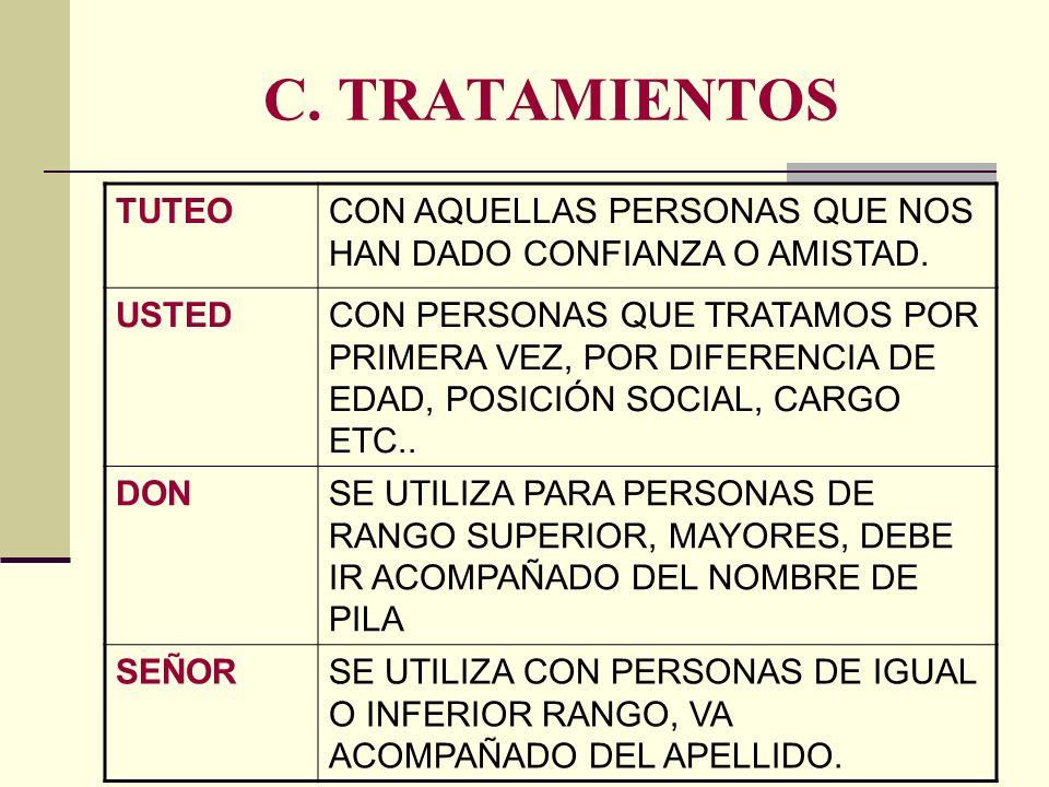 C. TRATAMIENTOS TUTEOCON AQUELLAS PERSONAS QUE NOS HAN DADO CONFIANZA O AMISTAD. USTEDCON PERSONAS QUE TRATAMOS POR PRIMERA VEZ, POR DIFERENCIA DE EDA