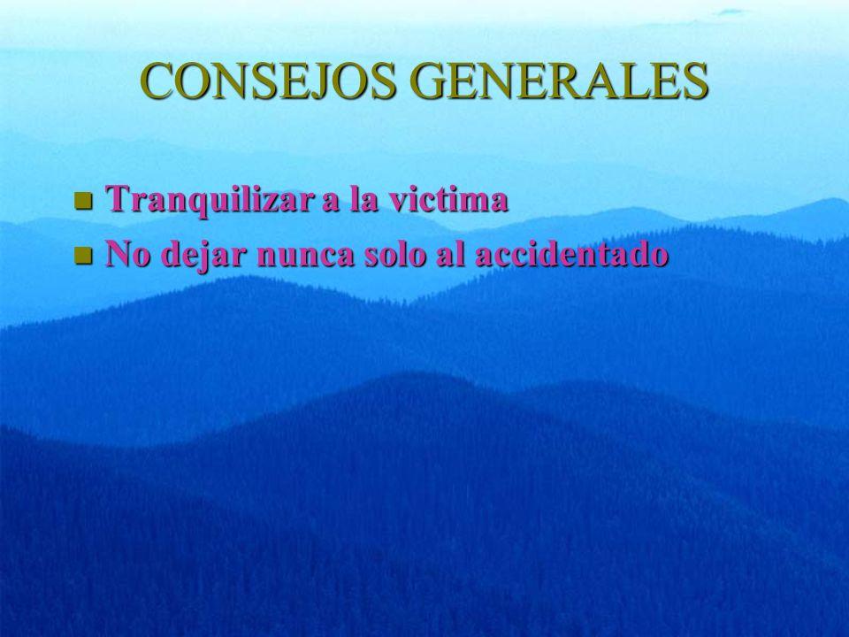 CONSEJOS GENERALES n Tranquilizar a la victima n No dejar nunca solo al accidentado