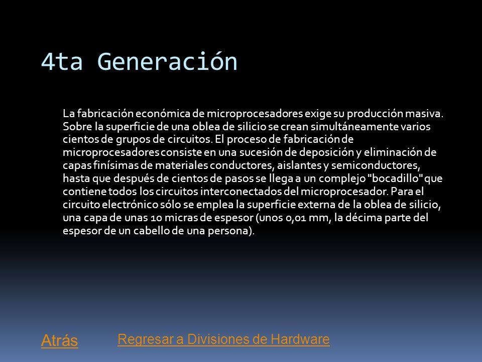 4ta Generación La más reciente, se caracteriza por la invención del microprocesador y consiste en la integración de miles de circuitos integrados dent