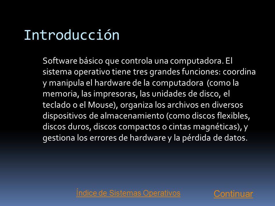 Sistemas Operativos Introducción ¿Cómo funciona un Sistema Operativo? Sistemas Operativos Actuales Próximas Tecnologías... MenúTipos de Software