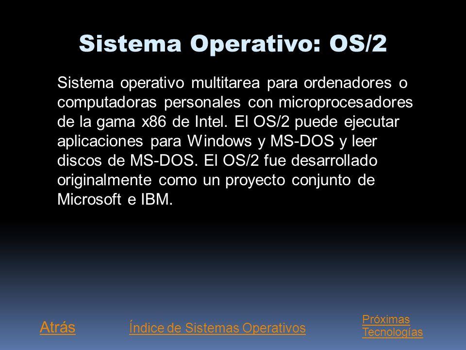 Sistema Operativo: MS-DOS Corto de Microsoft Disk Operating System (sistema operativo de disco de Microsoft). Como otros sistemas operativos, el siste
