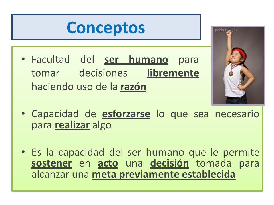 Conceptos Facultad del ser humano para tomar decisiones libremente haciendo uso de la razón Capacidad de esforzarse lo que sea necesario para realizar