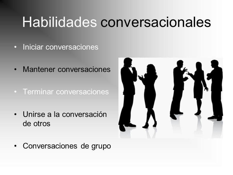 Habilidades conversacionales Iniciar conversaciones Mantener conversaciones Terminar conversaciones Unirse a la conversación de otros Conversaciones d