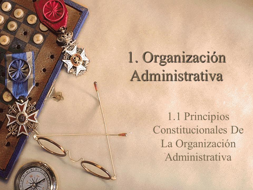 1. Organización Administrativa 1.1 Principios Constitucionales De La Organización Administrativa