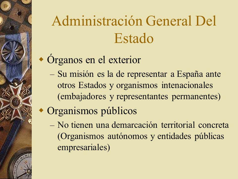 Administración General Del Estado Órganos en el exterior – Su misión es la de representar a España ante otros Estados y organismos intenacionales (emb