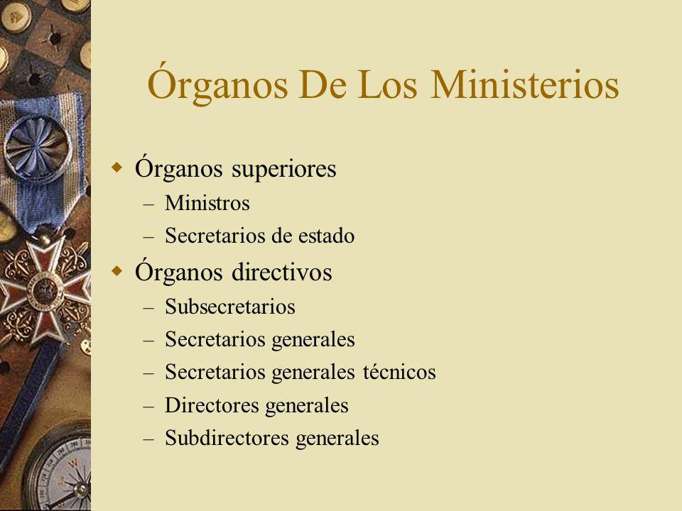 Órganos De Los Ministerios Órganos superiores – Ministros – Secretarios de estado Órganos directivos – Subsecretarios – Secretarios generales – Secret