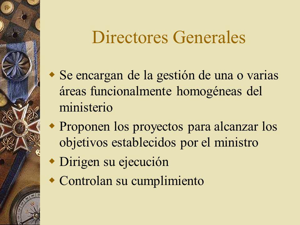 Directores Generales Se encargan de la gestión de una o varias áreas funcionalmente homogéneas del ministerio Proponen los proyectos para alcanzar los