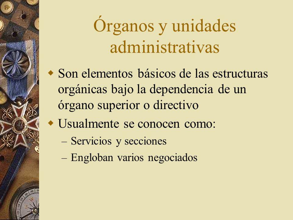 Órganos y unidades administrativas Son elementos básicos de las estructuras orgánicas bajo la dependencia de un órgano superior o directivo Usualmente