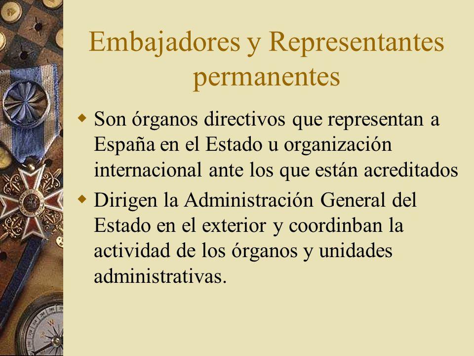 Embajadores y Representantes permanentes Son órganos directivos que representan a España en el Estado u organización internacional ante los que están
