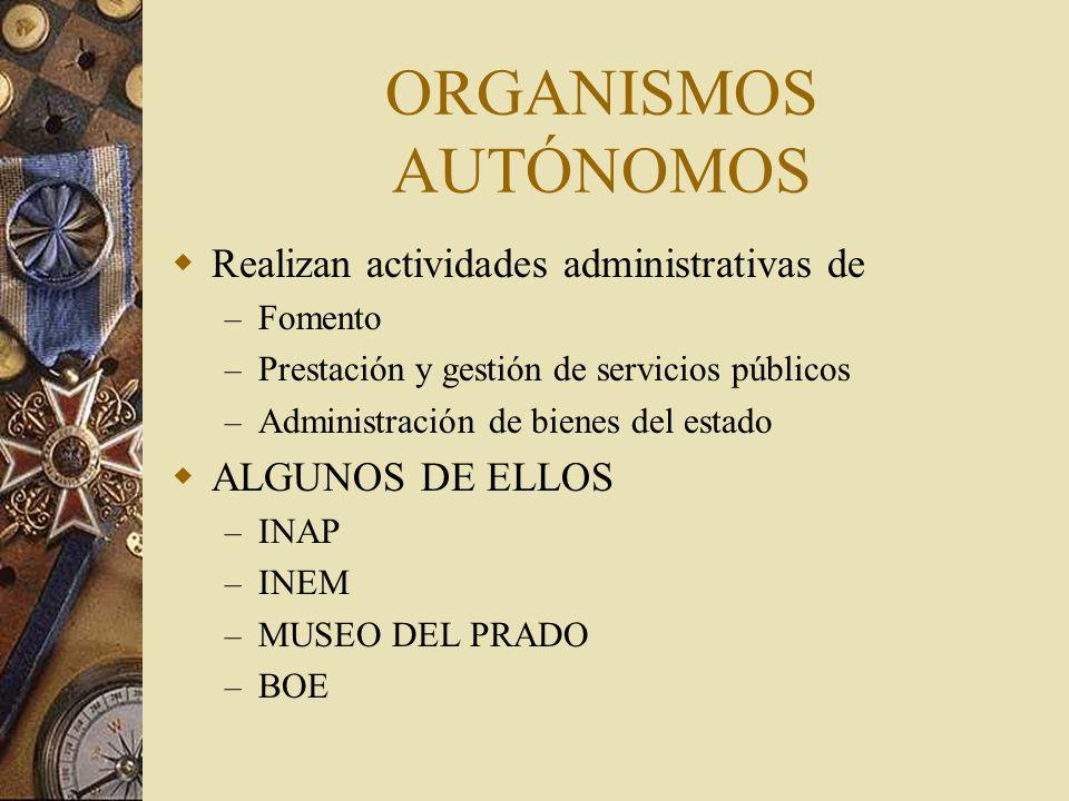 ORGANISMOS AUTÓNOMOS Realizan actividades administrativas de – Fomento – Prestación y gestión de servicios públicos – Administración de bienes del est