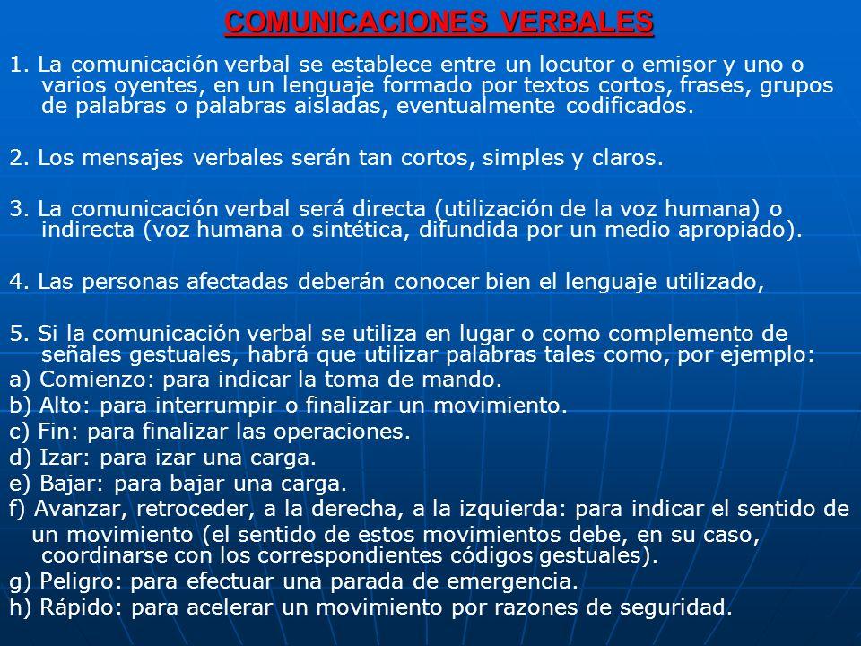COMUNICACIONES VERBALES 1. La comunicación verbal se establece entre un locutor o emisor y uno o varios oyentes, en un lenguaje formado por textos cor