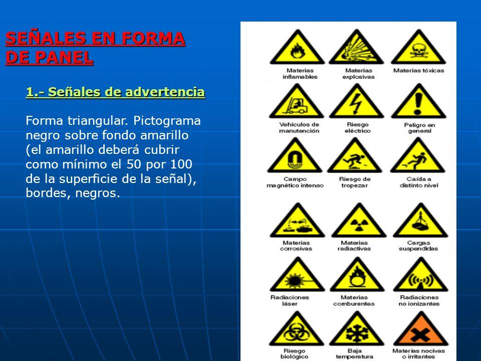 1.- Señales de advertencia Forma triangular. Pictograma negro sobre fondo amarillo (el amarillo deberá cubrir como mínimo el 50 por 100 de la superfic