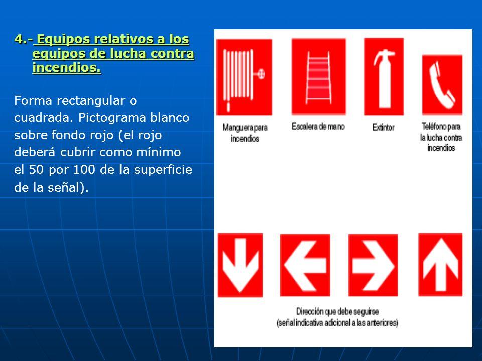 4.- Equipos relativos a los equipos de lucha contra incendios. Forma rectangular o cuadrada. Pictograma blanco sobre fondo rojo (el rojo deberá cubrir