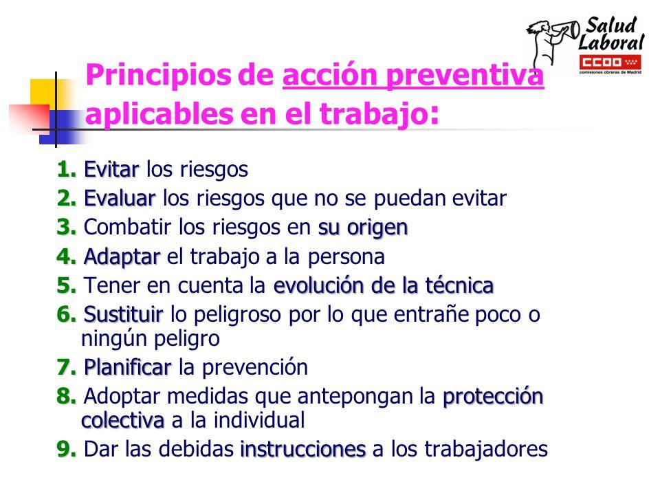 Principios de acción preventiva aplicables en el trabajo : 1.Evitar 1. Evitar los riesgos 2.Evaluar 2. Evaluar los riesgos que no se puedan evitar 3.s