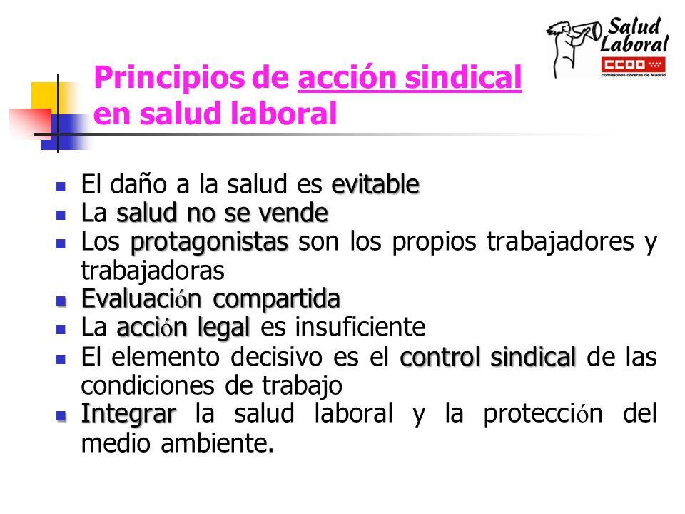 Principios de acción sindical en salud laboral evitable El daño a la salud es evitable salud no se vende La salud no se vende protagonistas Los protag