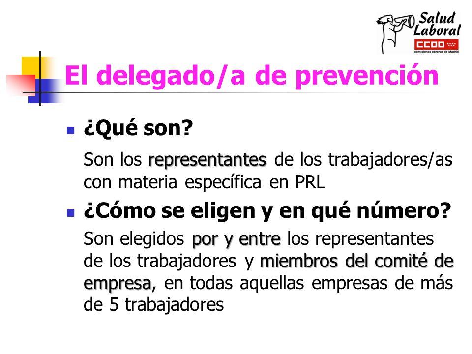 El delegado/a de prevención ¿Qué son? representantes Son los representantes de los trabajadores/as con materia específica en PRL ¿Cómo se eligen y en