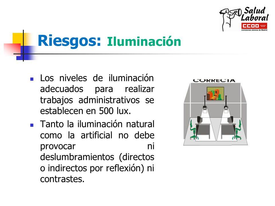 Riesgos: Iluminación Los niveles de iluminación adecuados para realizar trabajos administrativos se establecen en 500 lux. Tanto la iluminación natura