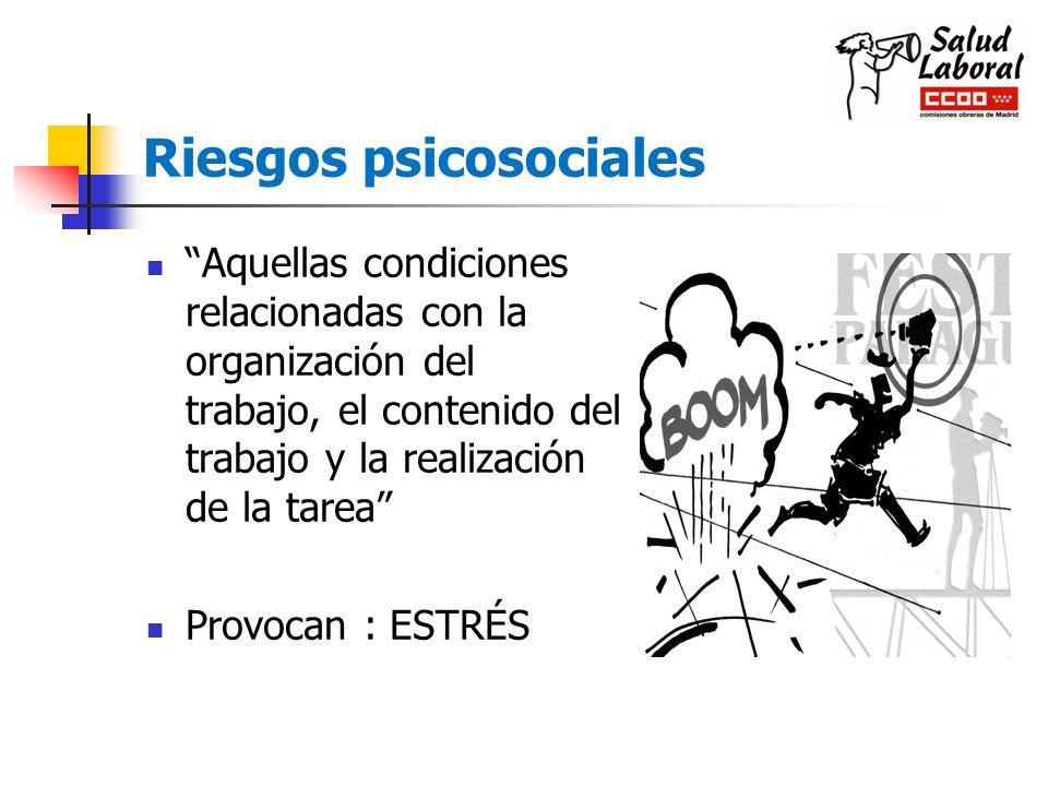 Riesgos psicosociales Aquellas condiciones relacionadas con la organización del trabajo, el contenido del trabajo y la realización de la tarea Provoca