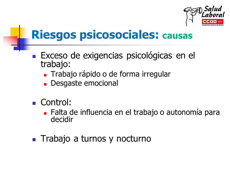 Riesgos psicosociales: causas Exceso de exigencias psicológicas en el trabajo: Trabajo rápido o de forma irregular Desgaste emocional Control: Falta d
