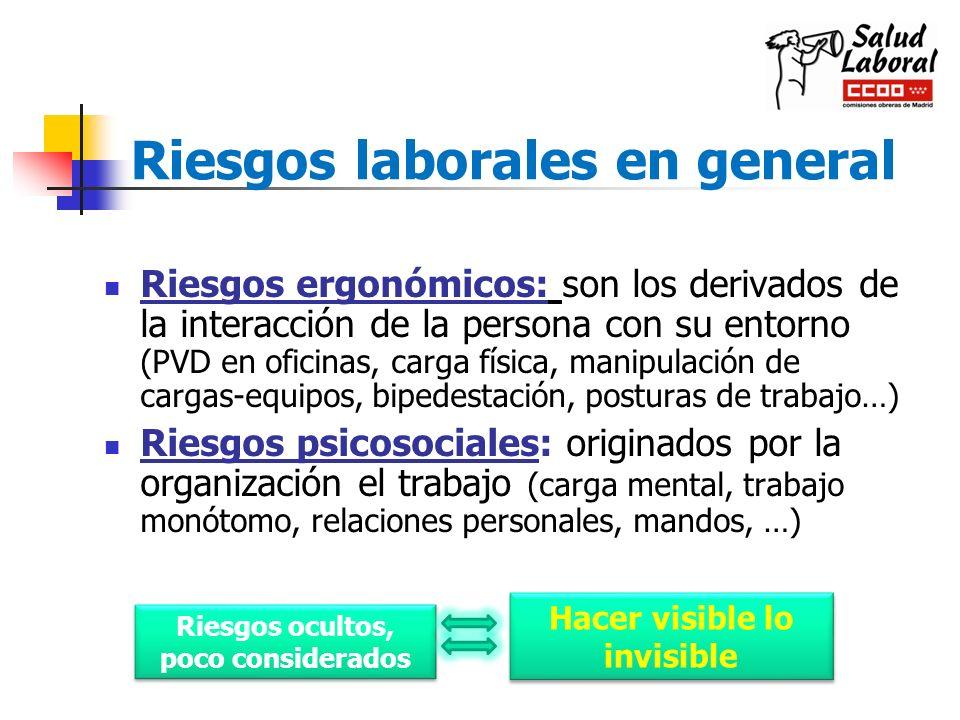Riesgos laborales en general Riesgos ergonómicos: son los derivados de la interacción de la persona con su entorno (PVD en oficinas, carga física, man