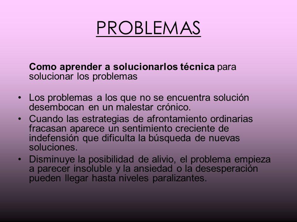 PROBLEMAS Como aprender a solucionarlos técnica para solucionar los problemas Los problemas a los que no se encuentra solución desembocan en un malest
