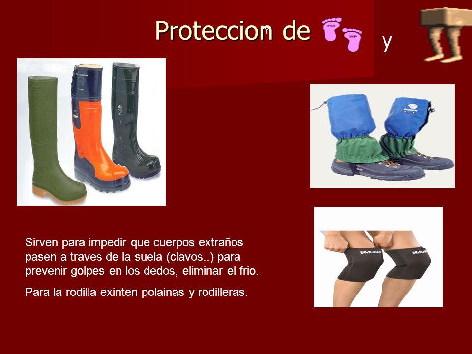 Proteccion de Y Sirven para impedir que cuerpos extraños pasen a traves de la suela (clavos..) para prevenir golpes en los dedos, eliminar el frio.
