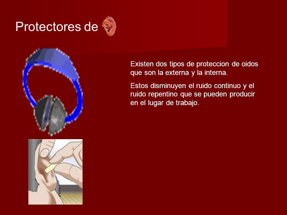 Protectores de Existen dos tipos de proteccion de oidos que son la externa y la interna.