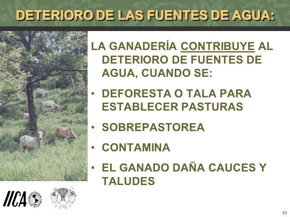 11 DETERIORO DE LAS FUENTES DE AGUA: LA GANADERÍA CONTRIBUYE AL DETERIORO DE FUENTES DE AGUA, CUANDO SE: DEFORESTA O TALA PARA ESTABLECER PASTURAS SOB