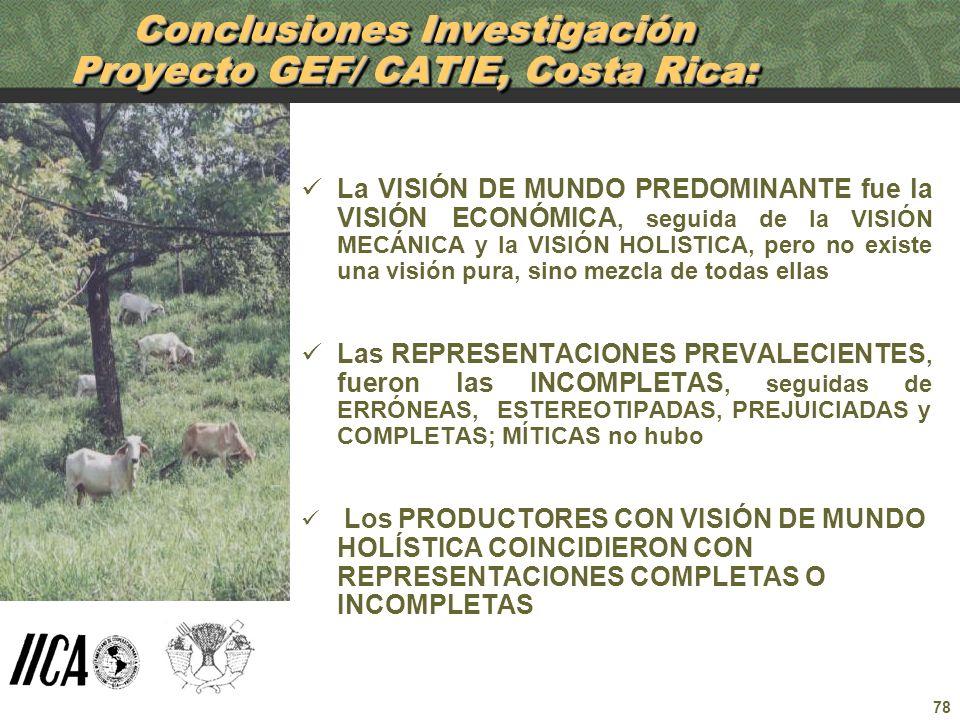 78 Conclusiones Investigación Proyecto GEF/ CATIE, Costa Rica: La VISIÓN DE MUNDO PREDOMINANTE fue la VISIÓN ECONÓMICA, seguida de la VISIÓN MECÁNICA