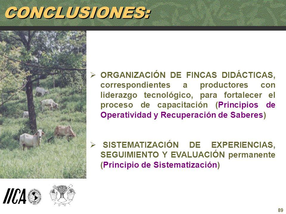 89 ORGANIZACIÓN DE FINCAS DIDÁCTICAS, correspondientes a productores con liderazgo tecnológico, para fortalecer el proceso de capacitación (Principios