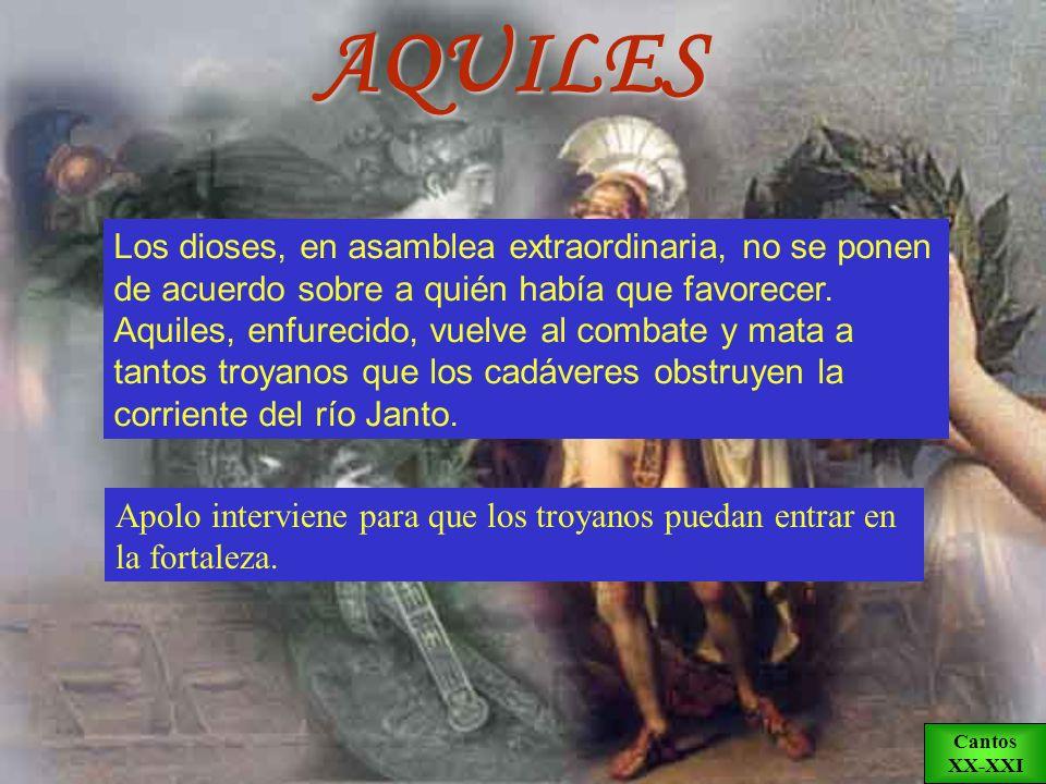 Vestido con la armadura que le había fabricado Hefesto, Aquiles se reconcilia con Agamenón. Briseida lamenta la muerte de Patroclo y el ejército aqueo