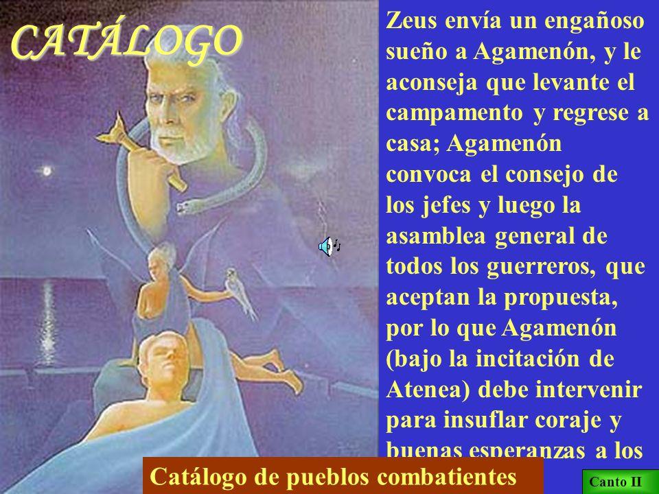AQUILES Y AGAMENÓN Calcante declara en la asamblea que Agamenón es la causa de la epidemia: debe devolver Criseida a su padre. Agamenón devuelve a Cri