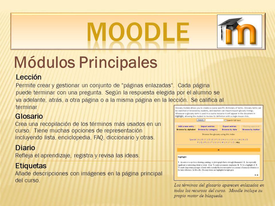 Módulos Principales Lección Permite crear y gestionar un conjunto de
