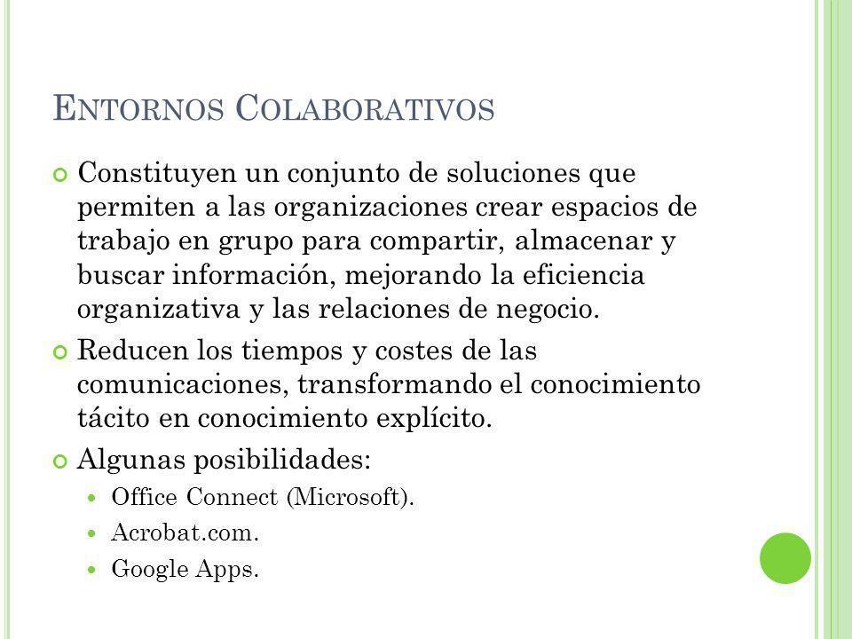 E NTORNOS C OLABORATIVOS Constituyen un conjunto de soluciones que permiten a las organizaciones crear espacios de trabajo en grupo para compartir, almacenar y buscar información, mejorando la eficiencia organizativa y las relaciones de negocio.