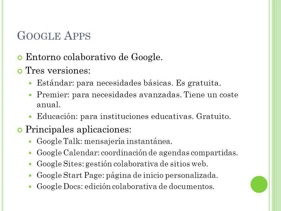 G OOGLE A PPS Entorno colaborativo de Google. Tres versiones: Estándar: para necesidades básicas.