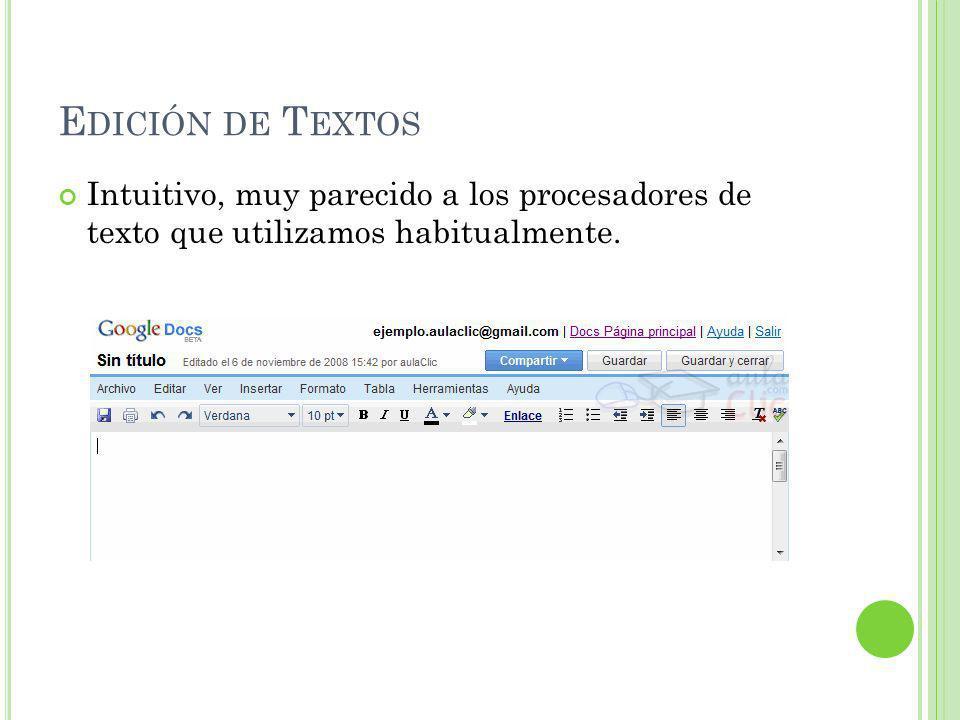 E DICIÓN DE T EXTOS Intuitivo, muy parecido a los procesadores de texto que utilizamos habitualmente.