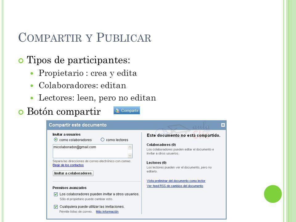 C OMPARTIR Y P UBLICAR Tipos de participantes: Propietario : crea y edita Colaboradores: editan Lectores: leen, pero no editan Botón compartir