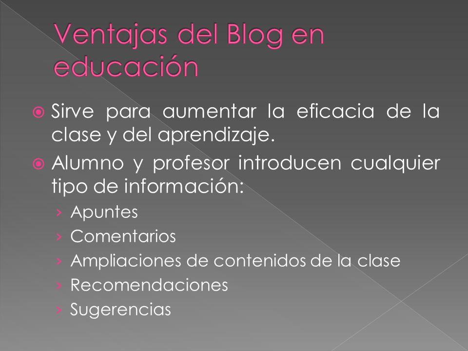 Sirve para aumentar la eficacia de la clase y del aprendizaje. Alumno y profesor introducen cualquier tipo de información: Apuntes Comentarios Ampliac