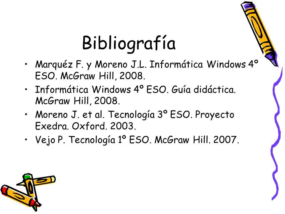 Bibliografía Marquéz F. y Moreno J.L. Informática Windows 4º ESO. McGraw Hill, 2008. Informática Windows 4º ESO. Guía didáctica. McGraw Hill, 2008. Mo