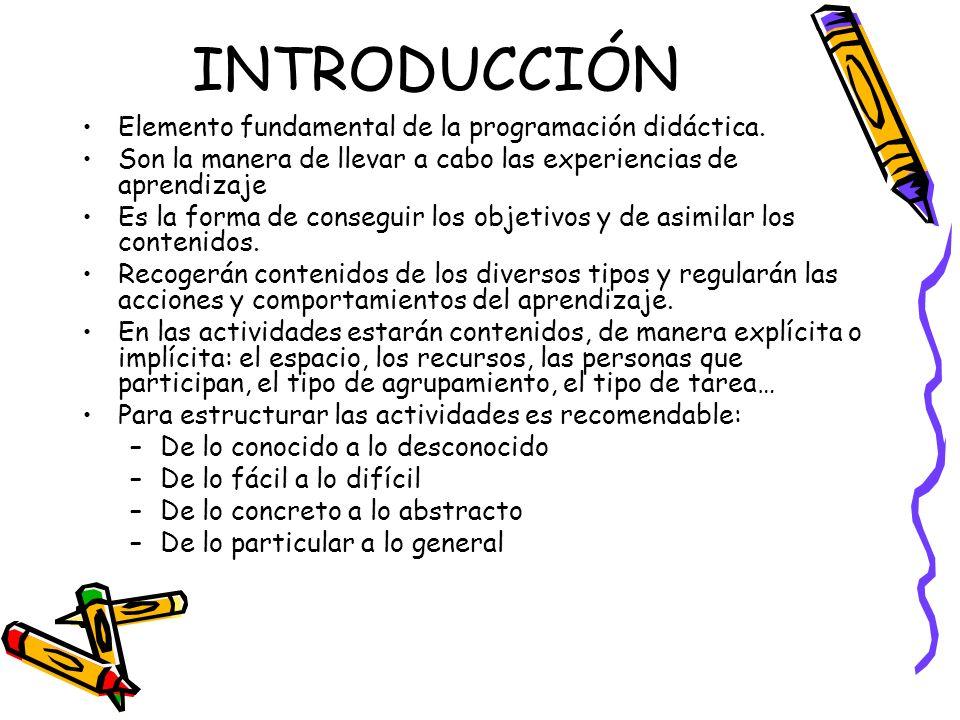 INTRODUCCIÓN Elemento fundamental de la programación didáctica. Son la manera de llevar a cabo las experiencias de aprendizaje Es la forma de consegui
