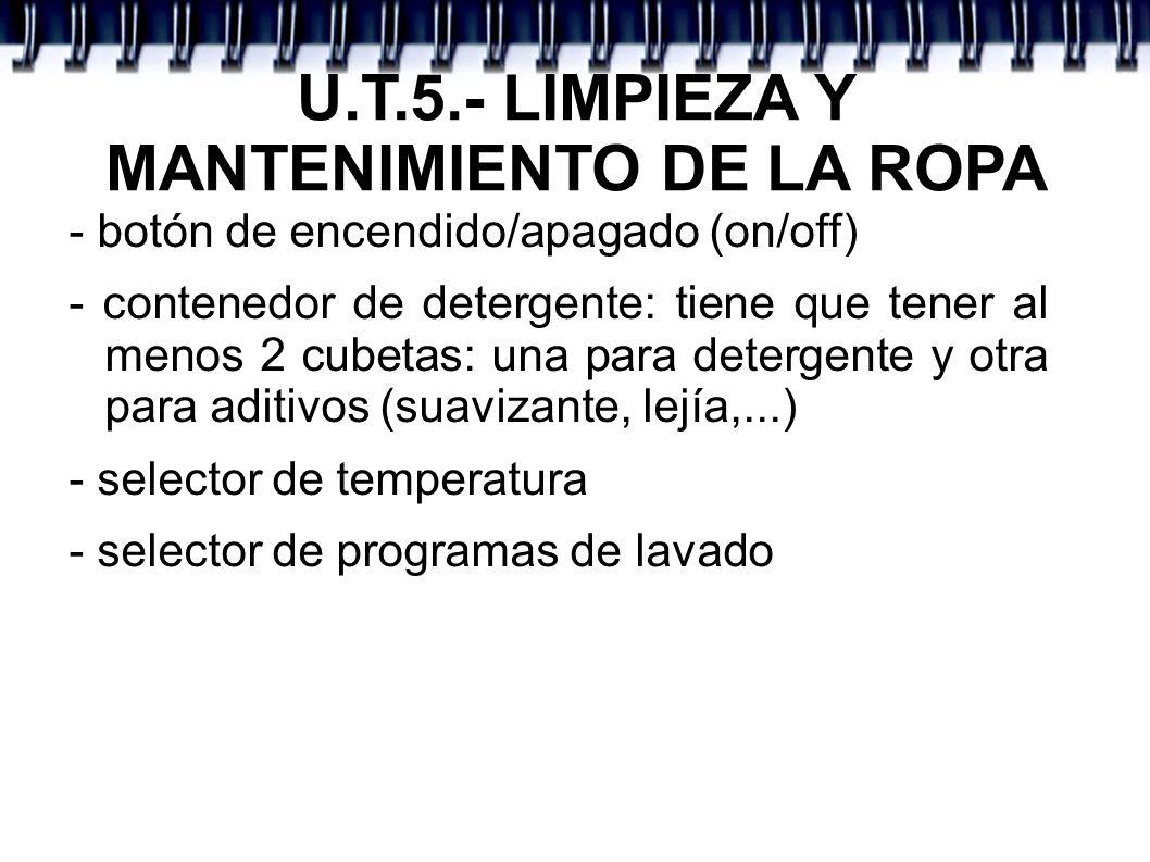 U.T.5.- LIMPIEZA Y MANTENIMIENTO DE LA ROPA - botón de encendido/apagado (on/off) - contenedor de detergente: tiene que tener al menos 2 cubetas: una