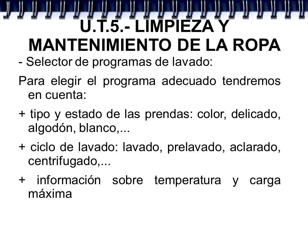 U.T.5.- LIMPIEZA Y MANTENIMIENTO DE LA ROPA - Selector de programas de lavado: Para elegir el programa adecuado tendremos en cuenta: + tipo y estado d