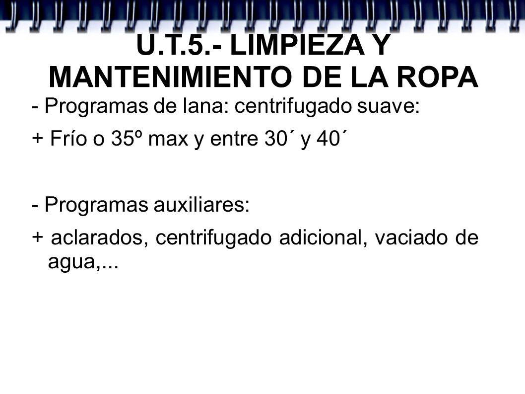 U.T.5.- LIMPIEZA Y MANTENIMIENTO DE LA ROPA - Programas de lana: centrifugado suave: + Frío o 35º max y entre 30´ y 40´ - Programas auxiliares: + acla