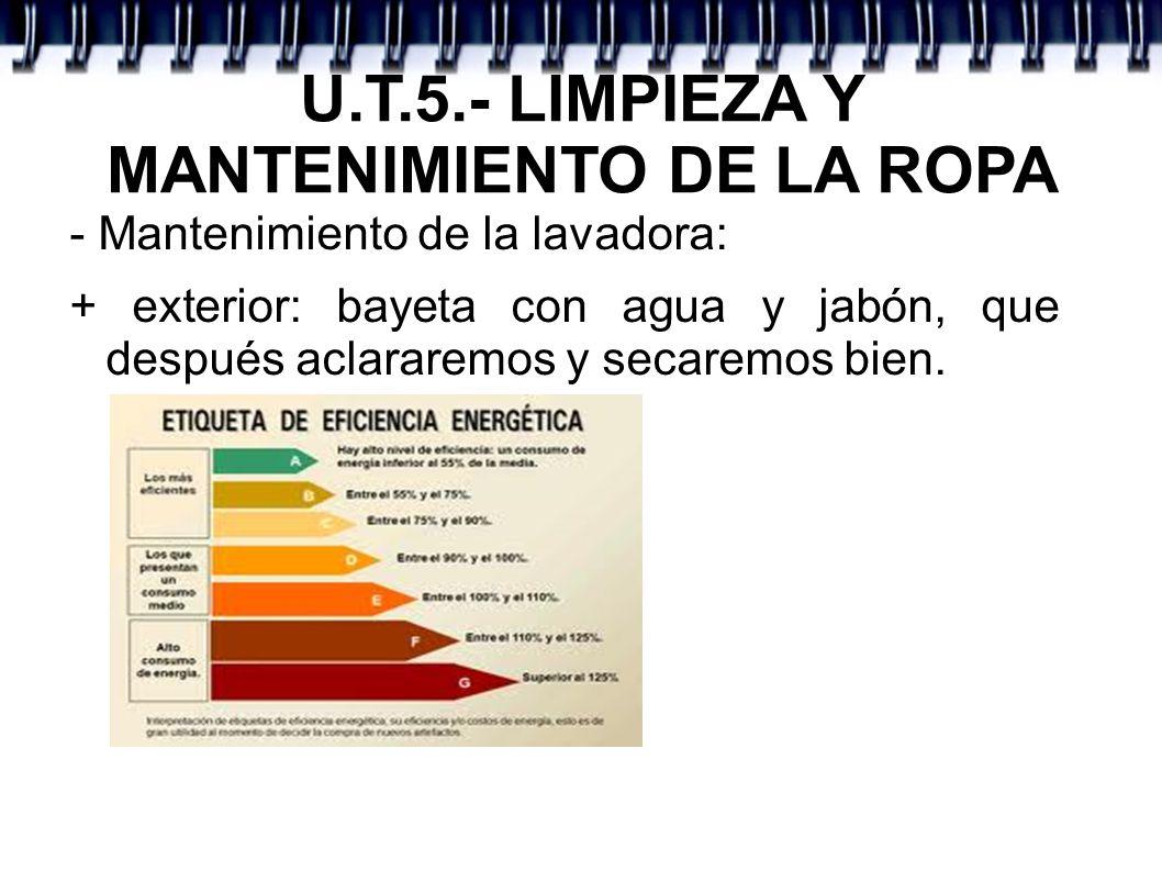 U.T.5.- LIMPIEZA Y MANTENIMIENTO DE LA ROPA - Mantenimiento de la lavadora: + exterior: bayeta con agua y jabón, que después aclararemos y secaremos b