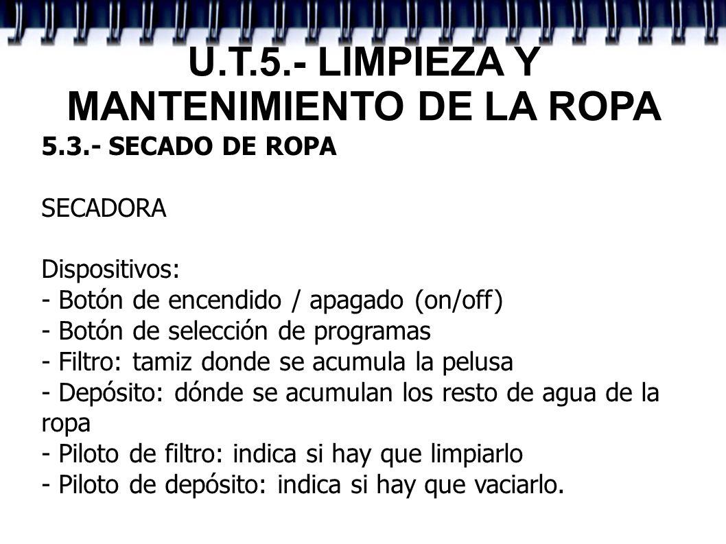 U.T.5.- LIMPIEZA Y MANTENIMIENTO DE LA ROPA 5.3.- SECADO DE ROPA SECADORA Dispositivos: - Botón de encendido / apagado (on/off) - Botón de selección d