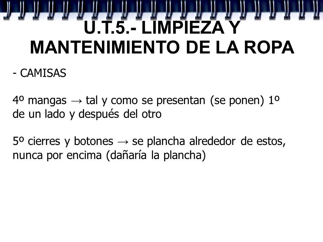 U.T.5.- LIMPIEZA Y MANTENIMIENTO DE LA ROPA - CAMISAS 4º mangas tal y como se presentan (se ponen) 1º de un lado y después del otro 5º cierres y boton