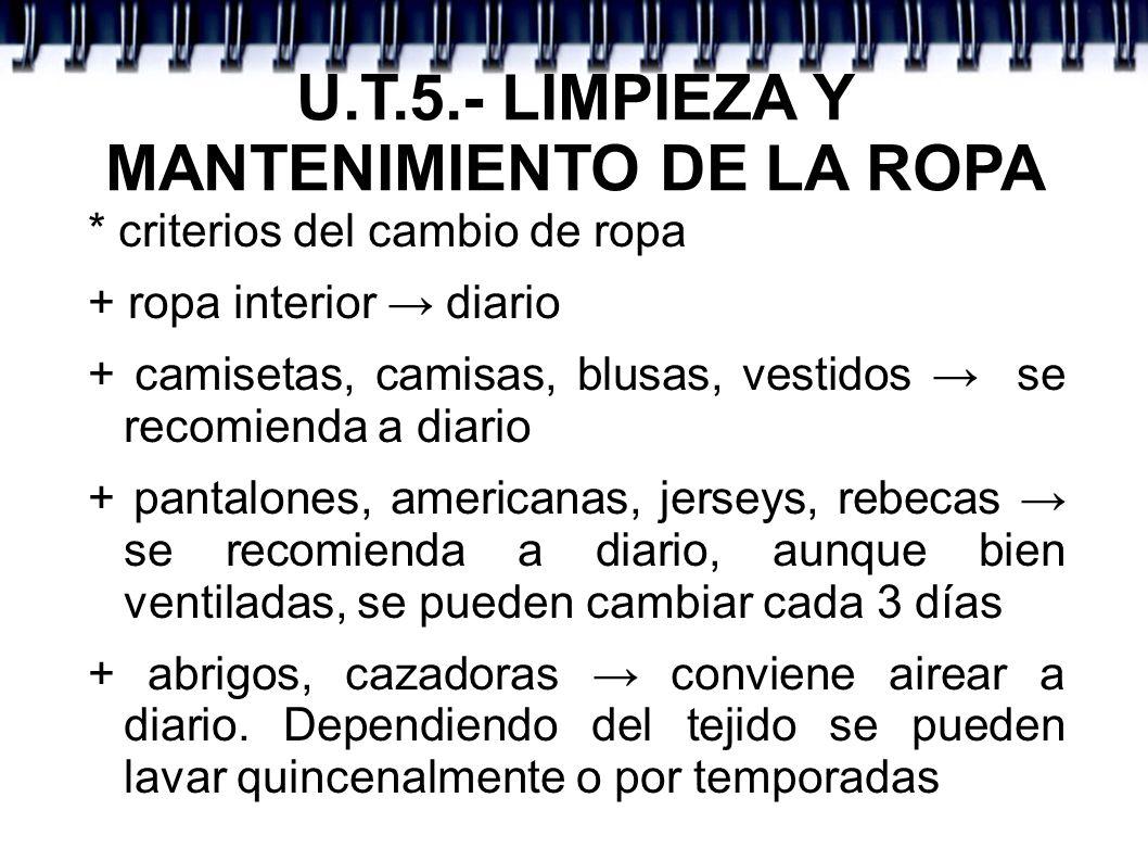 U.T.5.- LIMPIEZA Y MANTENIMIENTO DE LA ROPA * criterios del cambio de ropa + ropa interior diario + camisetas, camisas, blusas, vestidos se recomienda